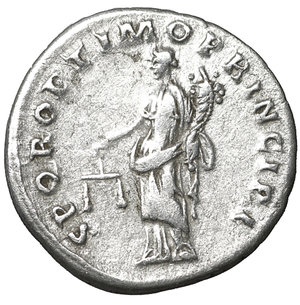reverse: Trajan. 98-117 AD. Denarius. 103-104 AD. 3.40 gr. – 18.3 mm. O:\ IMP TRAIANO AVG GER DAC PM TRP COS V P P, laureate bust right, slight drapery on far shoulder. R:\ SPQR OPTIMO PRINCIPI, Aequitas standing left, holding scales and cornucopiae. RSC 462. UNC