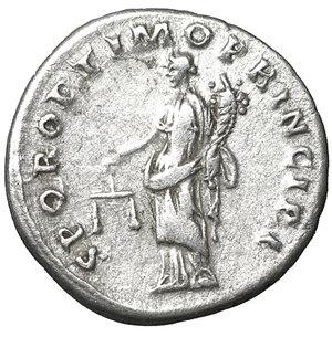 reverse: Trajan. 98-117 AD. Denarius. 103-104 AD. 3.40 gr. – 18.3 mm. O:\ IMP TRAIANO AVG GER DAC PM TRP COS V P P, laureate bust right, slight drapery on far shoulder. R:\ SPQR OPTIMO PRINCIPI, Aequitas standing left, holding scales and cornucopiae. RSC 462. UNC