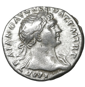 obverse: Trajan. 98-117 AD. AR denarius. 3.50 gr. – 18.6 mm. Rome mint, struck A.D. 107-108. O:\ IMP TRAIANO AVG GER DAC P M TR P, laureate head right, draped left shoulder. R:\ COS V PP SPQR OPTIMO PRINC, Victory advancing left, holding wreath and palm; shields below. RIC 131; RSC 77; BMCRE 337. UNC