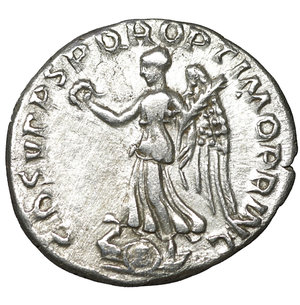 reverse: Trajan. 98-117 AD. AR denarius. 3.50 gr. – 18.6 mm. Rome mint, struck A.D. 107-108. O:\ IMP TRAIANO AVG GER DAC P M TR P, laureate head right, draped left shoulder. R:\ COS V PP SPQR OPTIMO PRINC, Victory advancing left, holding wreath and palm; shields below. RIC 131; RSC 77; BMCRE 337. UNC