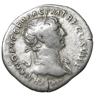 obverse: TRAJAN (98-117). Denarius. Rome. 3.25 gr. – 20.2 mm. O:\ IMP TRAIANO AVG GER DAC P M TR P COS VI P P. Laureate head right, slight drapery on left shoulder. R:\ SPQR OPTIMO PRINCIPI. Mars, nude, walking right, with spear in right hand and trophy in left over shoulder. Woytek 423b. VF+
