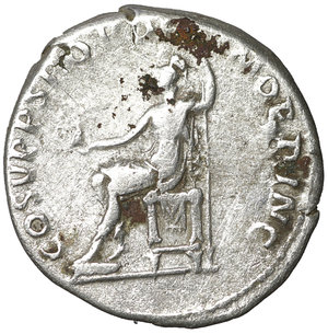 reverse: TRAJAN (98-117). Denarius. Rome. 3.15 gr. – 18.9 mm. O:\ IMP TRAIANO AVG GER DAC P M TR P. Laureate bust right, slight drapery on left shoulder. R:\ COS V P P S P Q R OPTIMO PRINC. Roma seated left holding spear and Victory on globe. RIC 116. VF\XF