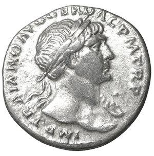 obverse: Trajan (98-117). AR Denarius. Rome, AD 103-111. 3.30 gr. – 18.4 mm. O:\ IMP TRAIANO AVG GER DAC P M TR P, laureate bust r., drapery on l. shoulder, R:\ COS V P P S P Q R OPTIMO PRINC, Aequitas standing l., holding scales and cornucopiae. RIC 118 var (see p. XIV, Addenda on p. 252); C 85. aUNC