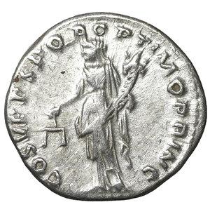 reverse: Trajan (98-117). AR Denarius. Rome, AD 103-111. 3.30 gr. – 18.4 mm. O:\ IMP TRAIANO AVG GER DAC P M TR P, laureate bust r., drapery on l. shoulder, R:\ COS V P P S P Q R OPTIMO PRINC, Aequitas standing l., holding scales and cornucopiae. RIC 118 var (see p. XIV, Addenda on p. 252); C 85. aUNC