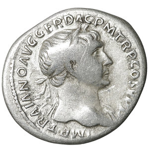 obverse: TRAJAN (98-117). Denarius. Rome. 3.15 gr. – 19.5 mm. O:\ IMP TRAIANO AVG GER DAC P M TR P COS V P P. Laureate bust right, slight drapery on left shoulder. R:\ SPQR OPTIMO PRINCIPI. Aequitas standing left with cornucopia and scales. Woytek 222b. XF