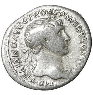 obverse: TRAJAN (98-117). Denarius. Rome. 3.15 gr. – 19.5 mm. O:\ IMP TRAIANO AVG GER DAC P M TR P COS V P P. Laureate bust right, slight drapery on left shoulder. R:\ SPQR OPTIMO PRINCIPI. Aequitas standing left with cornucopia and scales. Woytek 222b. XF