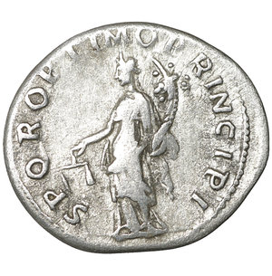 reverse: TRAJAN (98-117). Denarius. Rome. 3.15 gr. – 19.5 mm. O:\ IMP TRAIANO AVG GER DAC P M TR P COS V P P. Laureate bust right, slight drapery on left shoulder. R:\ SPQR OPTIMO PRINCIPI. Aequitas standing left with cornucopia and scales. Woytek 222b. XF