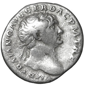 obverse: Trajan. 98-117 AD. Denarius. 3.20 gr. – 18.7 mm. O:\ IMP TRAIANO AVG GER DAC PM TRP, laureate bust right, aegis on far shoulder. R:\ COS V PP SPQR OPTIMO PRINC, Pietas, veiled, standing left by altar, holding patera and sceptre, PIET below. aXF