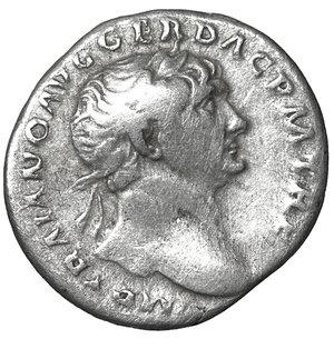 obverse: Trajan. 98-117 AD. Denarius. 3.20 gr. – 18.7 mm. O:\ IMP TRAIANO AVG GER DAC PM TRP, laureate bust right, aegis on far shoulder. R:\ COS V PP SPQR OPTIMO PRINC, Pietas, veiled, standing left by altar, holding patera and sceptre, PIET below. aXF