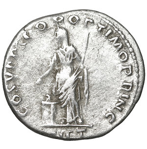 reverse: Trajan. 98-117 AD. Denarius. 3.20 gr. – 18.7 mm. O:\ IMP TRAIANO AVG GER DAC PM TRP, laureate bust right, aegis on far shoulder. R:\ COS V PP SPQR OPTIMO PRINC, Pietas, veiled, standing left by altar, holding patera and sceptre, PIET below. aXF