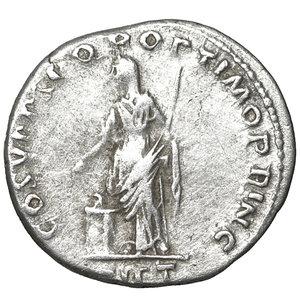 reverse: Trajan. 98-117 AD. Denarius. 3.20 gr. – 18.7 mm. O:\ IMP TRAIANO AVG GER DAC PM TRP, laureate bust right, aegis on far shoulder. R:\ COS V PP SPQR OPTIMO PRINC, Pietas, veiled, standing left by altar, holding patera and sceptre, PIET below. aXF