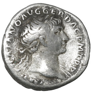 obverse: Traianus (98-117 AD). AR Denarius (18-19 mm, 3.56 g), Rome. 3.35 gr. – 18.9 mm. O:\ IMP TRAIANO AVG GER DAC P M TR P, Laureate head to right, slight drapery on far shoulder. R:\ COS V P P S P Q R OPTIMO PRINC, Dacian trophy of arms, at base of which shields, spears and sword. Woytek 268b; RIC 147. XF