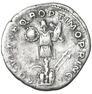 reverse: Traianus (98-117 AD). AR Denarius (18-19 mm, 3.56 g), Rome. 3.35 gr. – 18.9 mm. O:\ IMP TRAIANO AVG GER DAC P M TR P, Laureate head to right, slight drapery on far shoulder. R:\ COS V P P S P Q R OPTIMO PRINC, Dacian trophy of arms, at base of which shields, spears and sword. Woytek 268b; RIC 147. XF