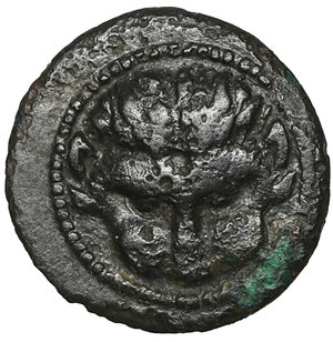 obverse: Rhegion, Bruttium. 450-425 BC. Bronze. 1.25 gr. – 12.8 mm. O:\ Lion head. R:\ R-E; sprig of leaves between. SNG ANS 678-679; Rutter HN 2517; SNG ANS 678. XF