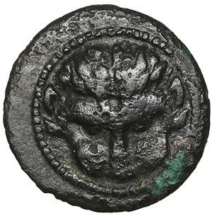 obverse: Rhegion, Bruttium. 450-425 BC. Bronze. 1.25 gr. – 12.8 mm. O:\ Lion head. R:\ R-E; sprig of leaves between. SNG ANS 678-679; Rutter HN 2517; SNG ANS 678. XF
