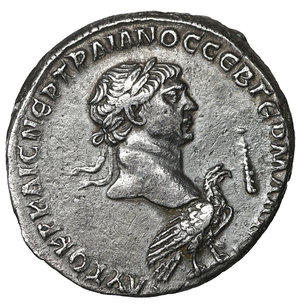 obverse: SELEUCIS and PIERIA, Antioch. Trajan. AD 98-117. AR Tetradrachm. 26 mm - 12.49 gr, 6h. Struck AD 103-111. O:\ Laureate head of Trajan right above eagle standing right; club before. R:\ Laureate head of Melqart-Hercules right, with lion's skin tied around neck. McAlee 455; Prieur 1495 (Tyre); RPC III 3528. Rare, XF\UNC