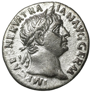 obverse: Trajan. AR Denarius. Rome, AD 101-102. AR 2.65 gr. – 17.7 mm. O:\ IMP CAES NERVA TRAIAN AVG GERM, laureate bust right. R:\ P M TR P COS IIII P P, Victory, draped, standing left, holding palm and sacrificing with patera over lighted and garlanded altar. RIC 67; RSC 248. Cabinet toning. XF