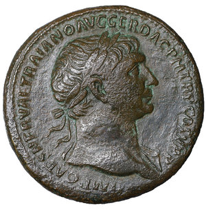 obverse: Trajan. 98-117 AD. AE Sestertius, 26.90 gr. - 33,8 mm. Struck 103-111 AD. O:\ IMP CAES NERVAE TRAIANO AVG GER DAC PM TRP COS V PP, laureate head right, slight drapery on left shoulder. R:\ SPQR OPTIMO PRINCIPI, S-C Fortuna standing left, holding rudder before prow, and cornucopiae. RIC II 500; BMCRE 797; Cohen 477; Sear (1988) 1008. VF\XF