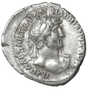 obverse: Hadrian AR denarius, AD 119-122, Rome. 2.85 gr. – 20.0 mm. O:\ IMP CAESAR TRAIAN HADRIANVS AVG, laureate head right. R:\ P M TR P COS III, Pax standing left, holding branch and sceptre. RIC 94a; RSC 1140a. Sear 3523. aXF