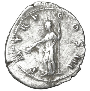 reverse: Hadrian AR denarius, AD 119-122, Rome. 2.85 gr. – 20.0 mm. O:\ IMP CAESAR TRAIAN HADRIANVS AVG, laureate head right. R:\ P M TR P COS III, Pax standing left, holding branch and sceptre. RIC 94a; RSC 1140a. Sear 3523. aXF