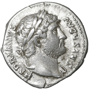 D/ Hadrian, (117-138). AR Denarius. 3.20 gr. – 18.8 mm. O:\ HADRIANVS AVGVSTVS, laureate head right, drapery on far shoulder. R:\ COS III, Victory seated left, holding wreath and palm, dot in exergue. RSC 361. XF