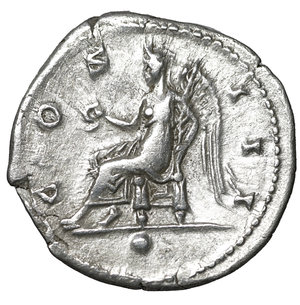 reverse: Hadrian, (117-138). AR Denarius. 3.20 gr. – 18.8 mm. O:\ HADRIANVS AVGVSTVS, laureate head right, drapery on far shoulder. R:\ COS III, Victory seated left, holding wreath and palm, dot in exergue. RSC 361. XF