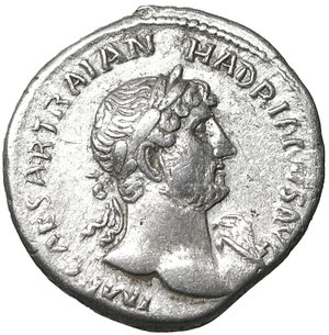 D/ Hadrian augustus, 118–137 AD. Denarius 119-122 AD. AR 3.35 gr. – 18.7 mm. O:\ IMP CAESAR TRAIAN HADRIANVS AVG Laureate bust r., with drapery on l. shoulder. R:\ P M TR P – COS III Pax standing l., holding branch and sceptre. C 1140. BMC 192. RIC 94. XF+