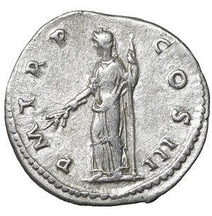 R/ Hadrian augustus, 118–137 AD. Denarius 119-122 AD. AR 3.35 gr. – 18.7 mm. O:\ IMP CAESAR TRAIAN HADRIANVS AVG Laureate bust r., with drapery on l. shoulder. R:\ P M TR P – COS III Pax standing l., holding branch and sceptre. C 1140. BMC 192. RIC 94. XF+