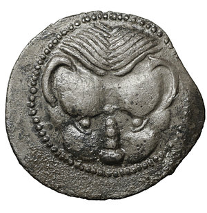 obverse: BRUTTIUM. Rhegion. Circa 445-435 BC. Litra. Silver 13 mm - 0.51 gr. O:\ Lion's mask facing. R:\ RECI within olive wreath. Herzfelder pl. IV, B. SNG ANS 651-653. VF\XF