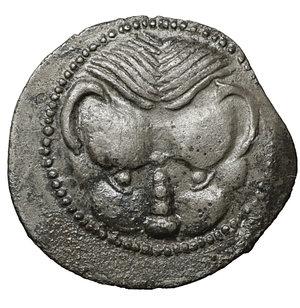 obverse: BRUTTIUM. Rhegion. Circa 445-435 BC. Litra. Silver 13 mm - 0.51 gr. O:\ Lion's mask facing. R:\ RECI within olive wreath. Herzfelder pl. IV, B. SNG ANS 651-653. VF\XF