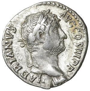 obverse: Hadrian AR Denarius, AD 117-138. 3.15 gr. – 16.7 mm. O:\ HADRIANVS AVG COS III, bare head right. R:\ FELICITAS AVG, Felicitas standing left, holding caduceus and cornucopiae. RSC 602; RIC II 233a. XF