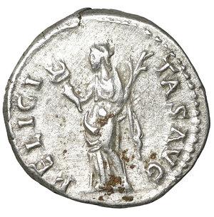 reverse: Hadrian AR Denarius, AD 117-138. 3.15 gr. – 16.7 mm. O:\ HADRIANVS AVG COS III, bare head right. R:\ FELICITAS AVG, Felicitas standing left, holding caduceus and cornucopiae. RSC 602; RIC II 233a. XF