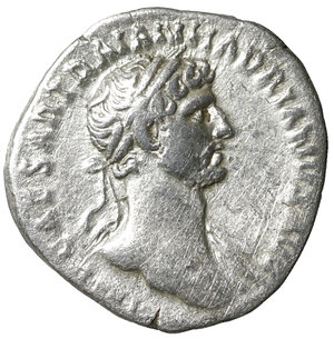 D/ Hadrian. AD 117-138. Silver Denarius. 3.25 gr. – 17.7 mm. O:\ IMP CAESAR TRAIAN HADRIANVS AVG, laureate bust right, slight drapery on left shoulder. R:\ P M TR P COS DES II, IVSTITIA below, Justitia seated left, holding patera and sceptre. RIC 19; RSC 876a; BMC 39; Strack 28; Sear -. VF+