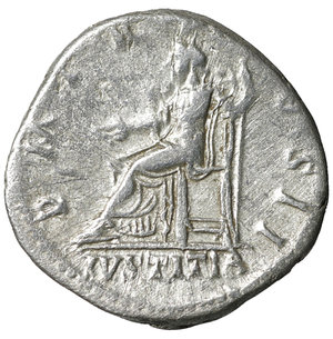 reverse: Hadrian. AD 117-138. Silver Denarius. 3.25 gr. – 17.7 mm. O:\ IMP CAESAR TRAIAN HADRIANVS AVG, laureate bust right, slight drapery on left shoulder. R:\ P M TR P COS DES II, IVSTITIA below, Justitia seated left, holding patera and sceptre. RIC 19; RSC 876a; BMC 39; Strack 28; Sear -. VF+