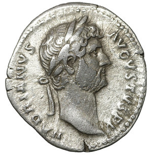 obverse: Hadrian. Rome. AR denarius. 125-128 AD. 3.00 gr. – 18.9 mm. O:\ HADRIANVS AVGVSTVS, laureate head right. R:\ COS III, Ceres seated left, holding corn ears and cornucopiae; modius with corn ears at foot. Globe in exergue. RIC 146; Sear -. aXF