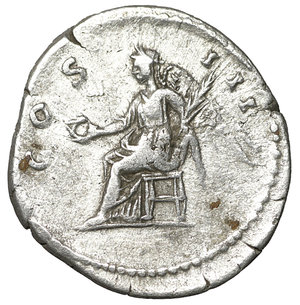 reverse: Hadrian. Rome. AR denarius. 125-128 AD. 3.00 gr. – 18.9 mm. O:\ HADRIANVS AVGVSTVS, laureate head right. R:\ COS III, Ceres seated left, holding corn ears and cornucopiae; modius with corn ears at foot. Globe in exergue. RIC 146; Sear -. aXF