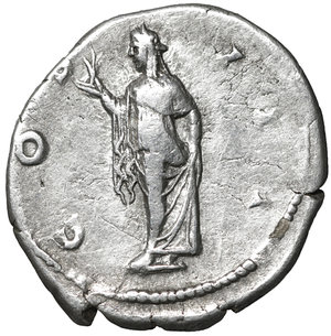 R/ Hadrian. 117-138 AD. Denarius, Rome, AD 125-128. AR 2.85 gr. – 18.3 mm. O:\ HADRIANVS - AVGVSTVS, laureate bust r., drapery on l. shoulder. R:\ COS - III, Spes standing l., raising skirt and holding flower. RIC 181; C 390. Good portrait. XF