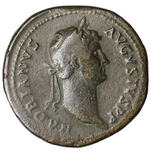 obverse: Hadrian. 117-138 AD. AE Sestertius. O:\ HADRIANVS AVGVSTVS PP; laureate bust right. R:\ HILARITAS P R COS III SC; Hilaritas standing left between two children. 27,10 gr.-33,67 mm. COHEN 819 ; RIC 970. VF+