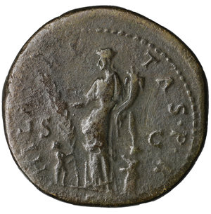 reverse: Hadrian. 117-138 AD. AE Sestertius. O:\ HADRIANVS AVGVSTVS PP; laureate bust right. R:\ HILARITAS P R COS III SC; Hilaritas standing left between two children. 27,10 gr.-33,67 mm. COHEN 819 ; RIC 970. VF+