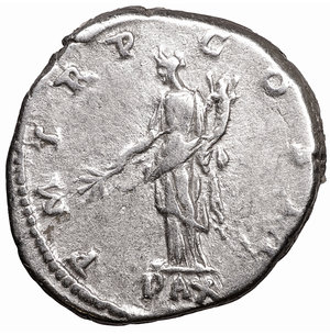 reverse: HADRIAN. 117-138 AD. AR Denarius. 3.42 gr. - 18.8 mm. O:\ IMP CAESAR TRAIAN HADRIANVS AVG, laureate cuirassed bust right. R:\ P M TR P COS II, Pax standing left, holding branch and cornucopiae, PAX in ex. RSC 1015b. XF