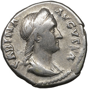 obverse: SABINA wife of Hadrian. 128-132 AD. Denarius. 3.05 gr. - 17.7 mm. O:\ SABINA AVGVSTA, draped bust right, hair in plait behind. R:\ VENERI GENTRICI, Venus standing right holding an apple. RIC 396, RSC 73, BMC 944. aXF