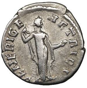R/ SABINA wife of Hadrian. 128-132 AD. Denarius. 3.05 gr. - 17.7 mm. O:\ SABINA AVGVSTA, draped bust right, hair in plait behind. R:\ VENERI GENTRICI, Venus standing right holding an apple. RIC 396, RSC 73, BMC 944. aXF