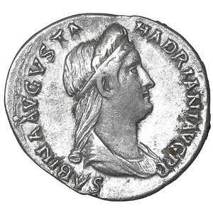D/ Sabina. Augusta, A.D. 128-136/7. AR denarius. 3.40 gr. – 19.1 mm. Rome, under Hadrian, ca. A.D. 134-136/7. O:\ SABINA AVGVSTA, diademed and draped bust of Sabina right. R:\ CONCOR-DIA AVG, Concordia seated left, holding patera and scepter. RIC 391; BMC 932; RSC 24. XF\UNC