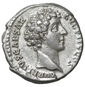 D/ Marcus Aurelius, as Caesar. AR Denarius. Rome, AD 140-144. 3.50 gr. – 17.1 mm. O:\ AVRELIVS CAESAR AVG PII F COS, draped bust right. R:\ IVVENTAS, Iuvventas standing left, dropping a grain of incense on a candelabrum and holding patera. RIC 423. XF