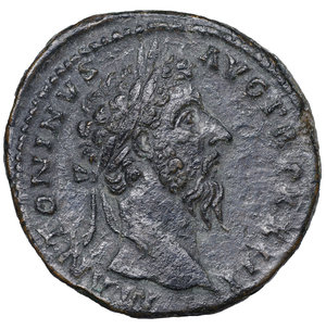 D/ Marcus Aurelius (161-180 AD). AE Sestertius. 25.45 gr. - 33.1 mm. Roma (Rome), 168-169 AD. O:\ M ANTONINVS AVG TR P XXIII, laureate head to right. R:\ SALVTI AVG COS III / S - C, Salus standing left, holding patera and scepter; altar to left, from which rises serpent. Cohen 544. RIC 964. XF