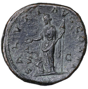 R/ Marcus Aurelius (161-180 AD). AE Sestertius. 25.45 gr. - 33.1 mm. Roma (Rome), 168-169 AD. O:\ M ANTONINVS AVG TR P XXIII, laureate head to right. R:\ SALVTI AVG COS III / S - C, Salus standing left, holding patera and scepter; altar to left, from which rises serpent. Cohen 544. RIC 964. XF
