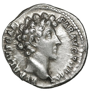obverse: Marcus Aurelius as Caesar AD 139-161. Struck AD 140-144. Rome. Denarius. AR 15 mm - 3,25 gr. O:\ AVRELIVS CAES-AR AVG PII F COS, bare head right. R:\ PIETAS AVG, knife, sprinkler, ewer, lituus and simpulum. C 451; BMC A. Pius 277; RIC A. Pius 424a. XF+