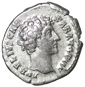 obverse: Marcus Aurelius caesar, 139-161 AD. Denarius 145-147. AR 19 mm - 3,28 g. O:\ AVRELIVS CAE – SAR AVG PII F Bare head r. R:\ COS – II Honos standing l., holding branch and cornucopiae. C 105. BMC A. Pius 594. RIC A. Pius 429a. XF+