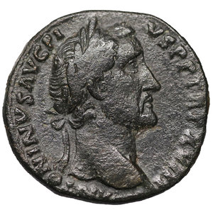 D/ Antoninus Pius. AE Sestertius. 156-157 AD. 31 mm - 21,91gr. O:\ ANTONINVS AVG PIVS PP TR P XVIII, laureate head right. R:\ LIBERTAS COS IIII S-C, Libertas standing right, holding pileus and extending left hand. RIC 928; Cohen 540. VF+