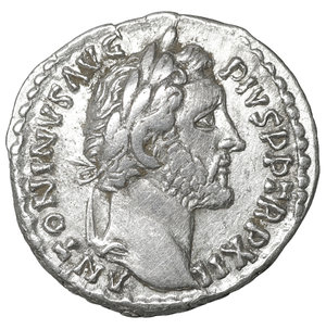 obverse: Antoninus Pius (138-161). AR Denarius. 3.60 gr. – 17.5 mm. Rome, 148/149. O:\ ANTONINVS AVG PIVS P P TR P XII, Laureate head to right. R:\ COS IIII, Annona standing facing, head left, holding grain ears and rudder; modius filled with grain ears to left. RIC 175. XF+